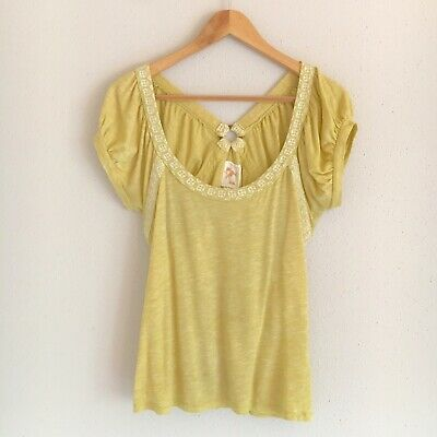 Anthropologie C Keer Womens Size Medium Yellow Scoop Neck V-Back Ruched Top
