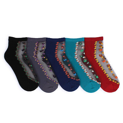 Free Shipping (5 Pairs) Women Butterfly on Flower See through Socks Fashion HM