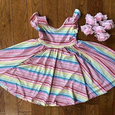 NWT Dot Dot Smile Twirly Summer dress Girls Empire rainbow Stripes