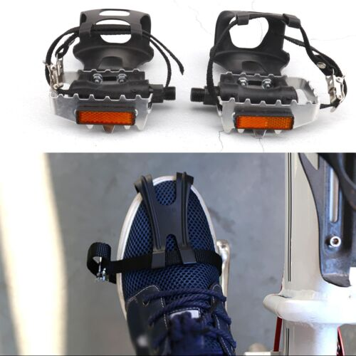 Bicycle 9/16 inches Spindle Toe Cages Pedals with Strap Belt