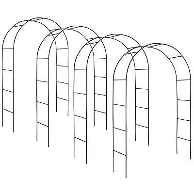 4x Garden Rose Arch Set Trellises Climbing Plant Flowers Terrace Steel Green