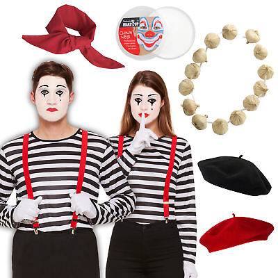 French Mime Set Couples Mens Womens Braces Beret Top Garlic Fancy Dress Costume!](Female Mime Costume)