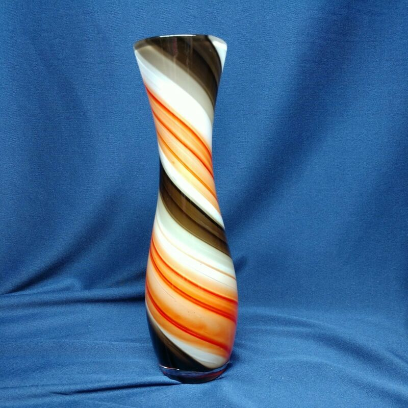"""Red Black & White Art Glass Vase Weighted 8"""" X2.5"""""""