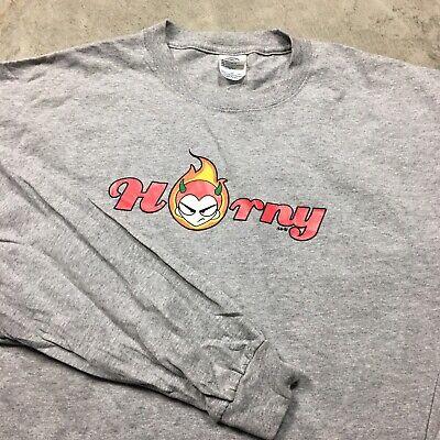 HORNY DEVIL 90s VTG Skate Skateboarding 2XL Long Sleeve T Shirt Y2K Rave Raver