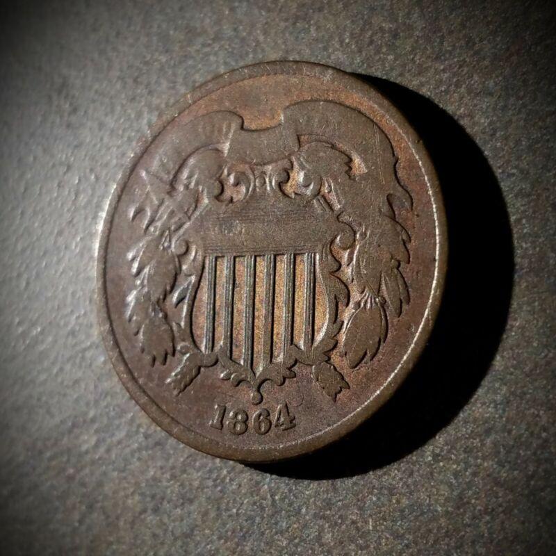 1864 2C Two Cent Piece, Large Motto - Civil War Era Copper