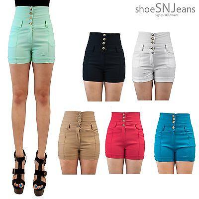 NEW Women Ladies Summer Short Mini Pants Front Zipper Button Stretch Pants