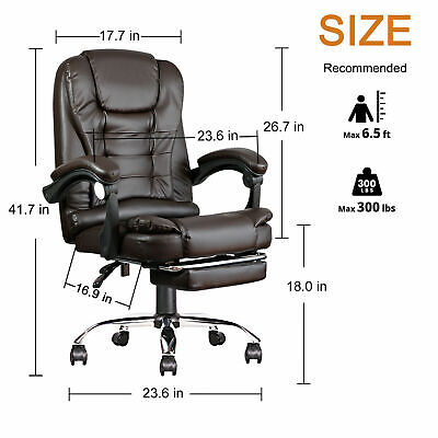 High Back Executive Office Chair Big Tall Classic Leather Computer Desk Chair