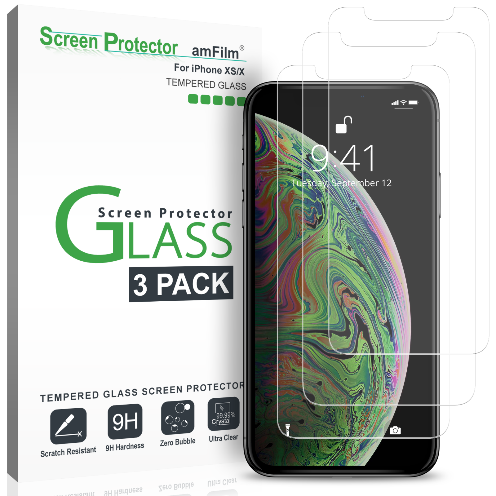 iPhone XS / X Screen Protector, amFilm Tempered Glass for iP