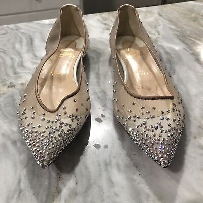 CHRISTIAN LOUBOUTIN Follies Strass Crystal Ballet White Patent Shoe EU38