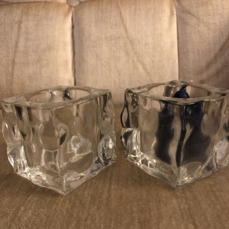 Pair of Partylite Glacier Ice Cube Votive Candle Holders P0279 JB148