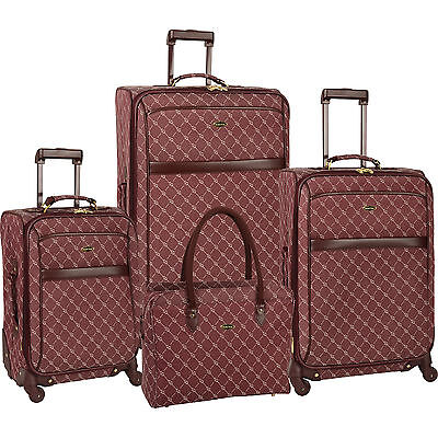 TRAVEL GEAR ORION BURGUNDY WHITE 4 PIECE EXPANDABLE SPINNER LUGGAGE SET $1120