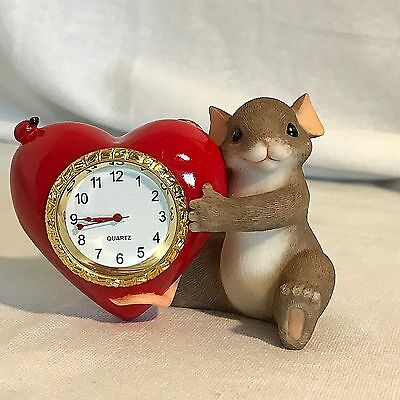 Fitz & Floyd Charming Tails Reginald Mouse You Make My Heart Tick NIOB
