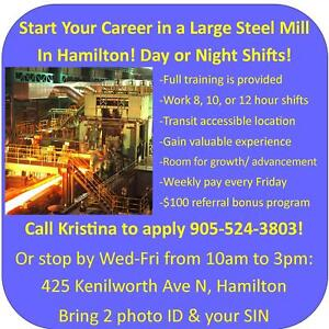 CAREER OPPORTUNITY IN A STEEL MILL! FULL TIME HOURS + OVERTIME!