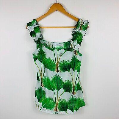 Isolda Womens Top Size 8 Nature Print 100% Silk Gorgeous Top Brazil Designer