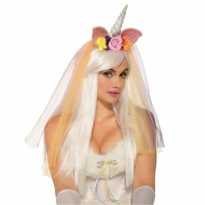 Adult Women's Rainbow Unicorn Floral Headpiece w Veil Headband Costume Accessory