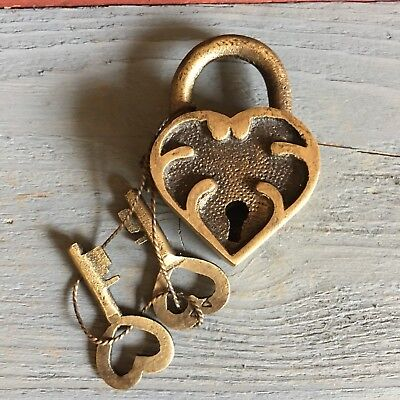 "Ornate Heart Lock, Solid Brass With Antique Finish And Two Keys, 2"" X - Ornate Key"