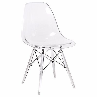 LeisureMod Dover Molded Dining Side Chair Wth Acrylic Base in Clear