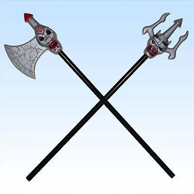 2 Axt Dreizack oder Vikinger Axt mit Totenkopf Waffen für Halloween und Fasching