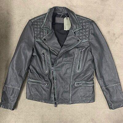 ALL SAINTS Cargo Leather Biker Jacket. Grey / Black. Size L
