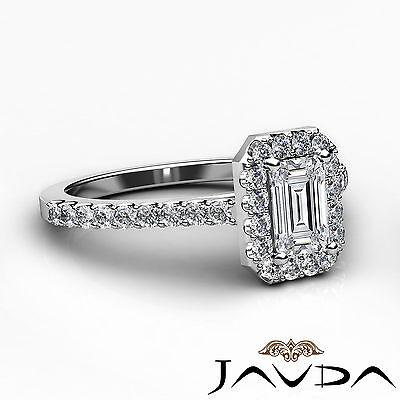 Halo Emerald Cut Diamond Engagement French U Pave Wedding Ring GIA F VS2 1.21Ct 2