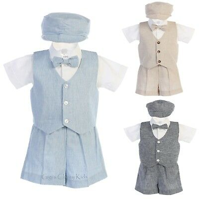 Boys Cotton Linen Vest Shorts Set Outfit Hat Baby Toddler Wedding Party Easter ](Baby Outfit Wedding)