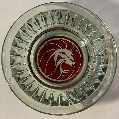 Vintage MGM Grand Lion Hotel Ashtray Motel Advertising glass red