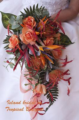 BRIDE TROPICAL WEDDING BOUQUET ORANGE  WITH ROSES 14 PIECE