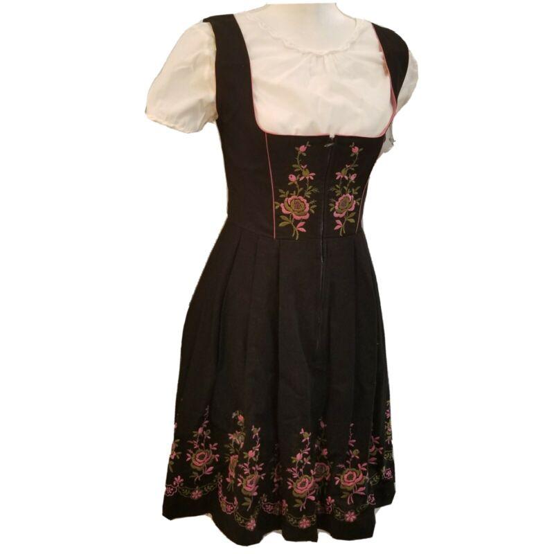 Salzburger Trachten Size 42 German Dress Black Pink  Embroidered Octoberfest 5 p