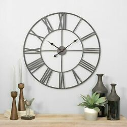 Large Distressed Iron Frame Roman Wall Clock Round Pass Trough Design 30 Inch