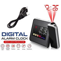 LED Projection Time Alarm Clock Snooze Weather Thermometer Humidity Backlight QC