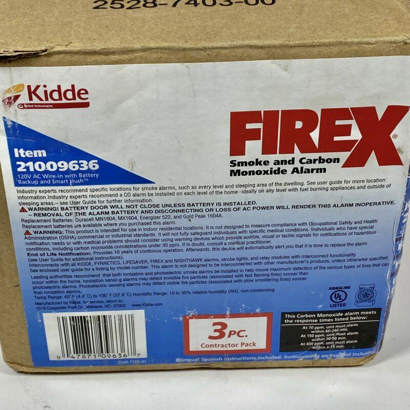 Contractor 3 Pack Kidde KN-COPE-IC FireX Smoke & Carbon Monoxide Alarm 21029901
