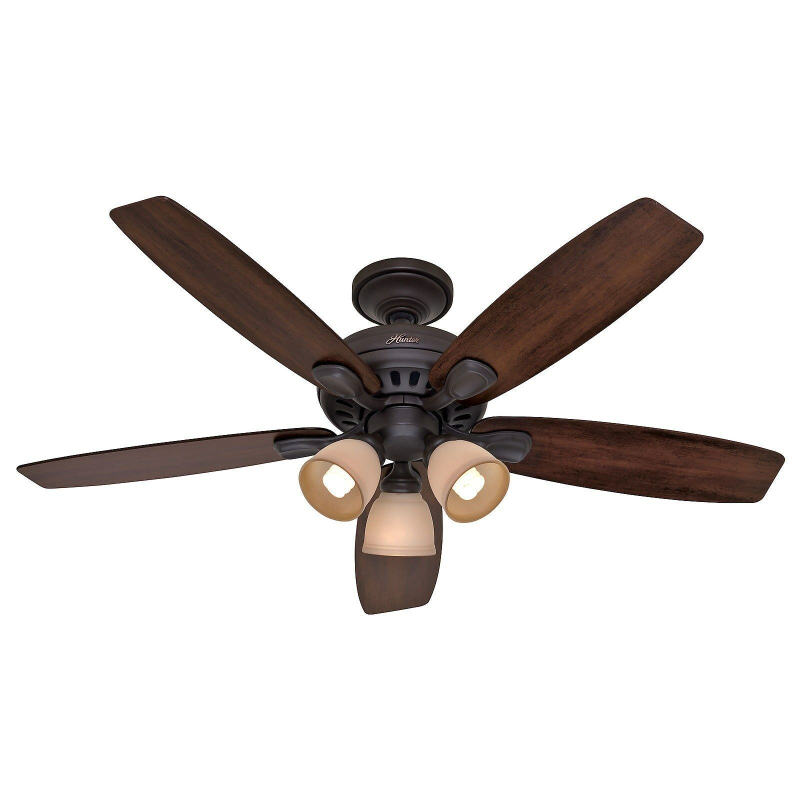 Lighting Fans: Hunter 52 In. New Bronze Ceiling Fan With Light & Remote