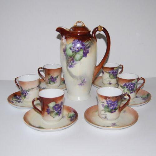 Antique Violets H&C Bavaria Germany Chocolate Coffee Pot Set 6 Cup & Saucer