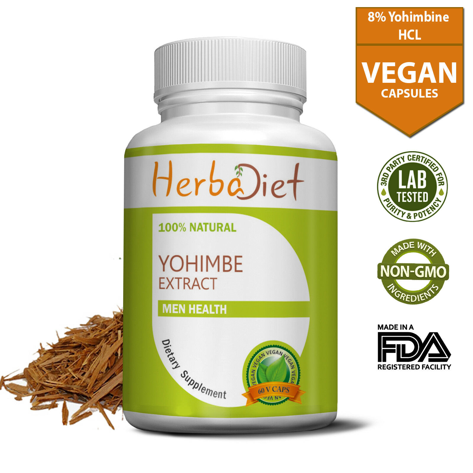 Yohimbe Bark Extract Capsules Yohimbiine HCL 8% Fat Burner L