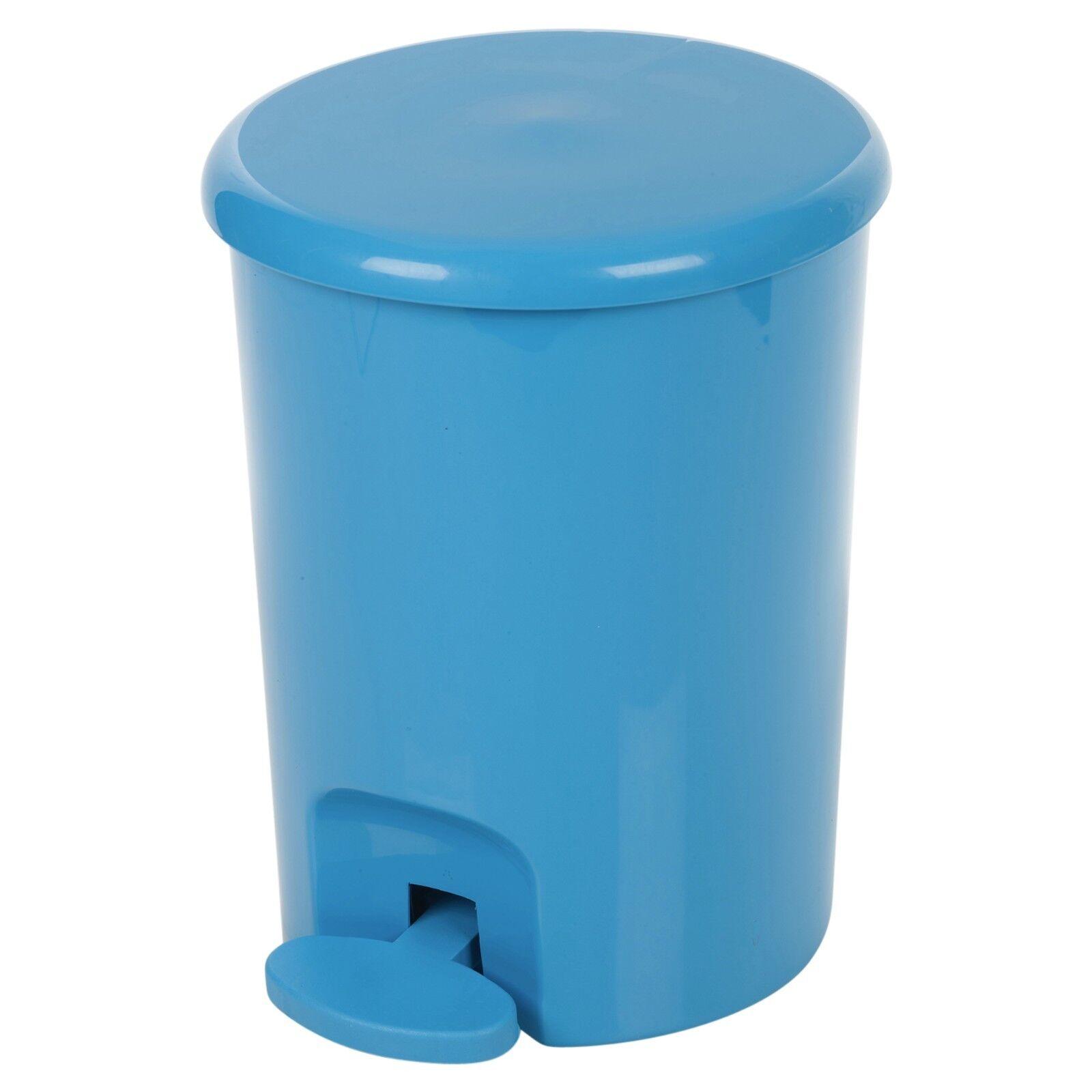 PLASTIC 5 LITRE Pedal Operated Waste Dustbin Rubbish Bin Bathroom ...