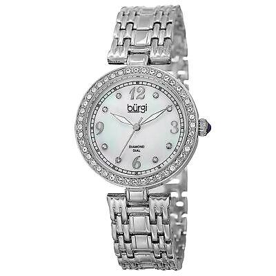 Women's Burgi BUR136SS Mother of Pearl Swarovski Accented Crystal Bezel Watch