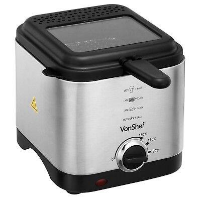 VonShef Deep Fat Fryer 1.5 Litre Chip Pan Basket Non Stick Oil Fry 900W Compact