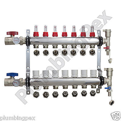 7-branch Pex Radiant Floor Heating Manifold Stainless W 12 Connectors