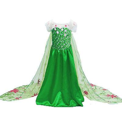 Frozen Fever Inspired Green Maxi Split Elsa Dress Elsa Costume