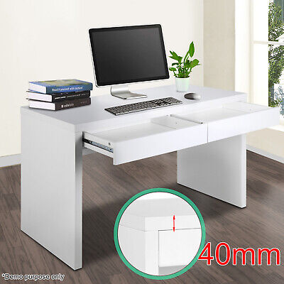 Computer Desk Laptop PC Desktop Table Workstation Home Office White 2 Drawers