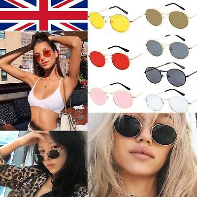 Retro Oval Tinted Sunglasses Hip hop 90s 80s Hipster Celebrity Circle glasses UK