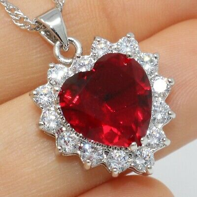 Sparkling Heart Red Ruby Necklace Pendant Women Jewelry 14K White Gold Plated Gold Ruby Heart Necklace