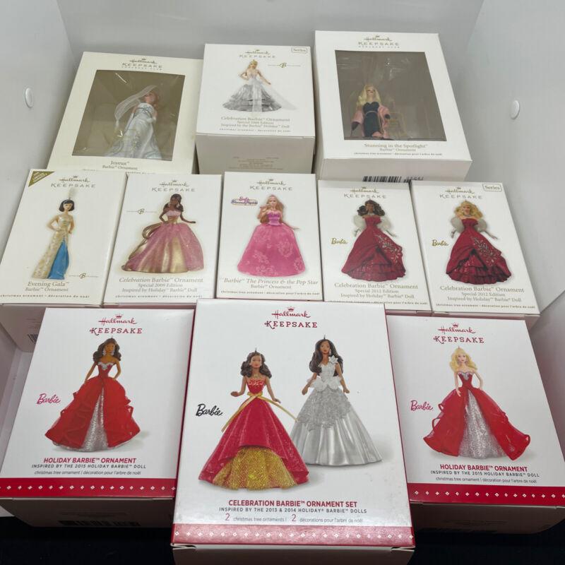 Barbie Hallmark Ornaments - LOT OF 11 - NEW - Celebration, Princess Pop Star