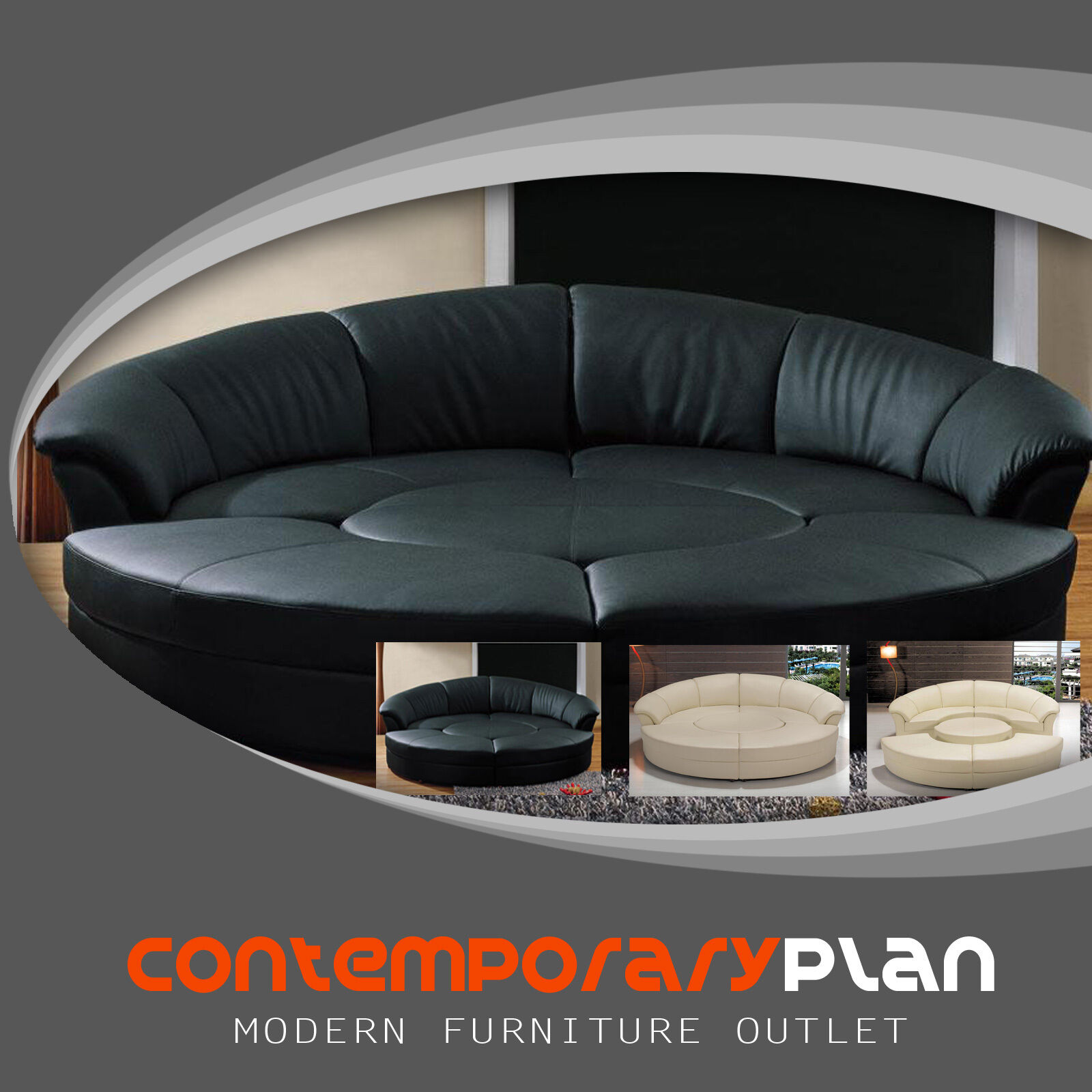 Round 5 Piece Living Room Sectional Couch Set with round tab