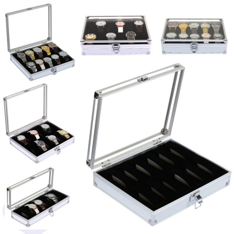 Jewellery - 6/10/12 Aluminum Wristwatch Watch Jewellery Display Storage Case Box Transparent