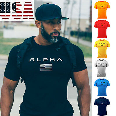 ALPHA Gym Men Muscle Fitness Cotton Fit Tee Workout T-Shirt Athletic Clothes - Muscle Shirts Mens