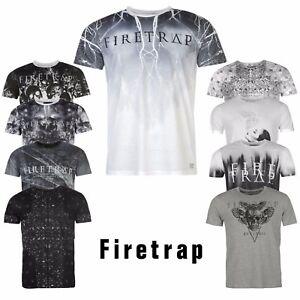 hombre-Firetrap-Camiseta-Cuello-Redondo-Top-Manga-Corta-Pequeno-Mediano-Grande