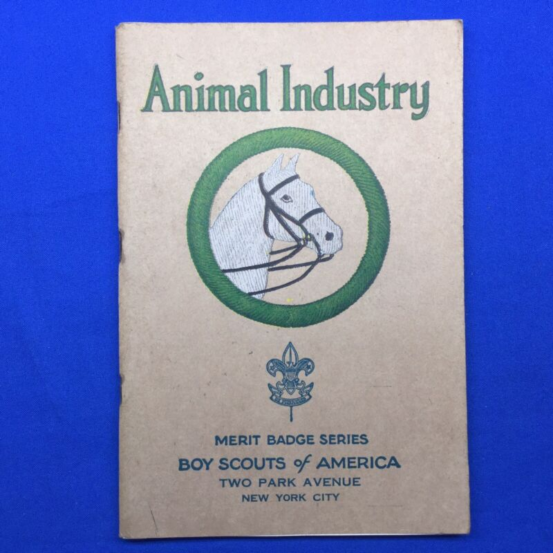 Boy Scout Animal Industry Tan Cover Merit Badge Pamphlet August 1935 Printing