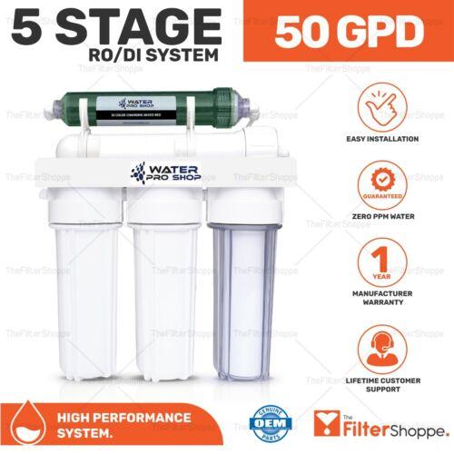 5 Stage Aquarium Reef Reverse Osmosis (RO/DI) Water Filter System - 50 GPD - USA
