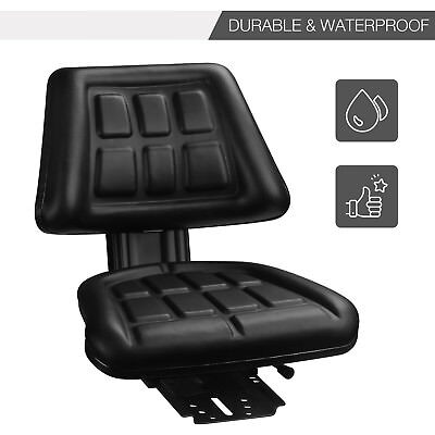 Tractor Seat Backrest Base&Slide Track Steel/PVC Compact Mower Seating Black